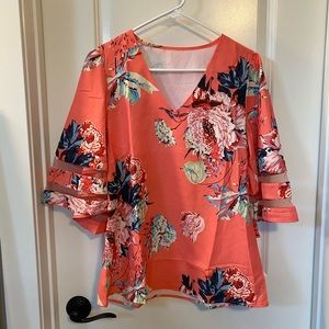 Tops - Coral Floral Blouse for Women